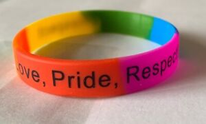 Silicone Bracelet Wristband Rainbow Gay Pride Flag LGBTQ Rights Resist