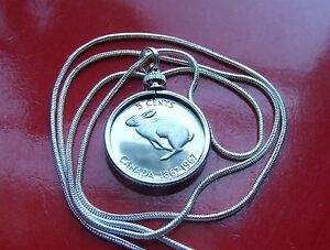 Classic-Centennial-Canada-Coin-Rabbit-Pendant-on-a-28-034-925-Silver-Snake-Chain