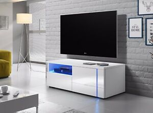 Oxy-meuble-TV-100-cm-laque-brillant-Blanc-Noir-Gris-LED-bleue-design-salon-banc