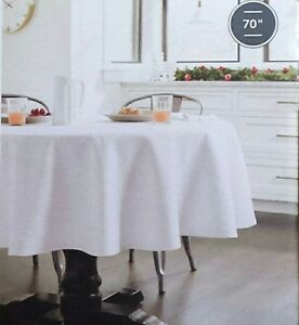 Image Is Loading Threshold Tablecloth Round 70 034 White Silver X