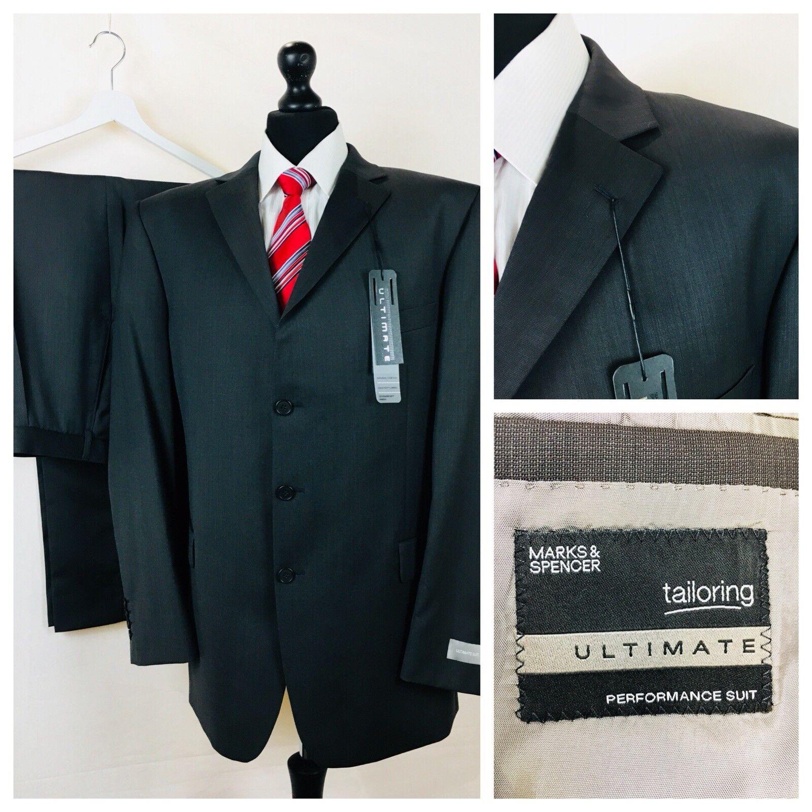 Marks & Spencer  Herren Suit 48L 42W 33L Slate Grau 100% Wool Formal Y05A