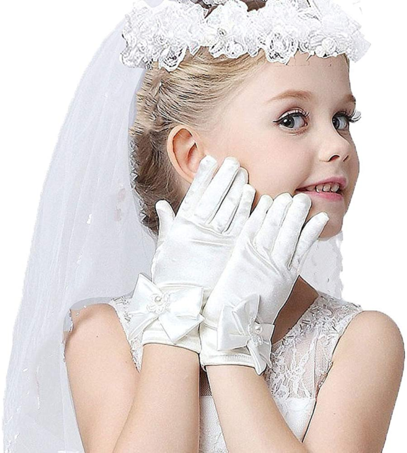 Little Girls Bridal Veils Bow First Communion Cathedral Mantilla with Hairband
