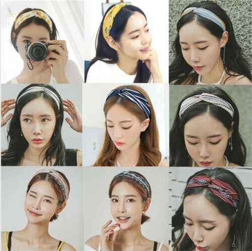 Women Yoga Elastic Turban Floral Twisted Knotted Hair Band Headband Headpiece