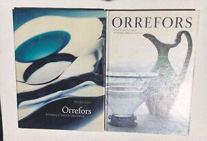 Orrefors-Two-Book-Lot-RARE-Swedish-Glass-Art-Design-Kosta-Bofa-Hardcover-Crystal