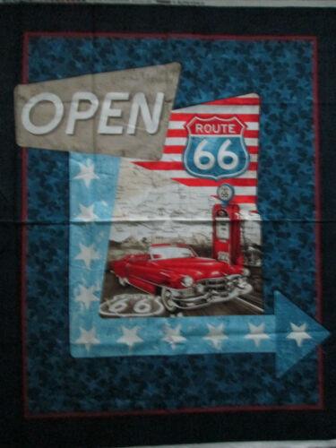 Route 66 Retro Car USA Large Fabric Cotton Panel