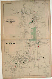 1879-Original-Map-Village-of-Abington-amp-N-Abington-Mass-MA-Plymouth-Atlas