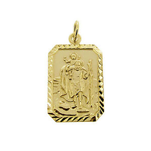 9ct gold plated rectangle st christopher pendant with chain image is loading 9ct gold plated rectangle st christopher pendant with mozeypictures Gallery