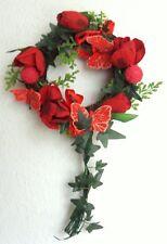 Türkranz Tulpen u. Schmetterlinge rot, 25 cm, künstlich Frühlingskranz Wandkranz