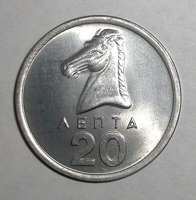 1976 Greece 20 lepta Stallion horse animal coin