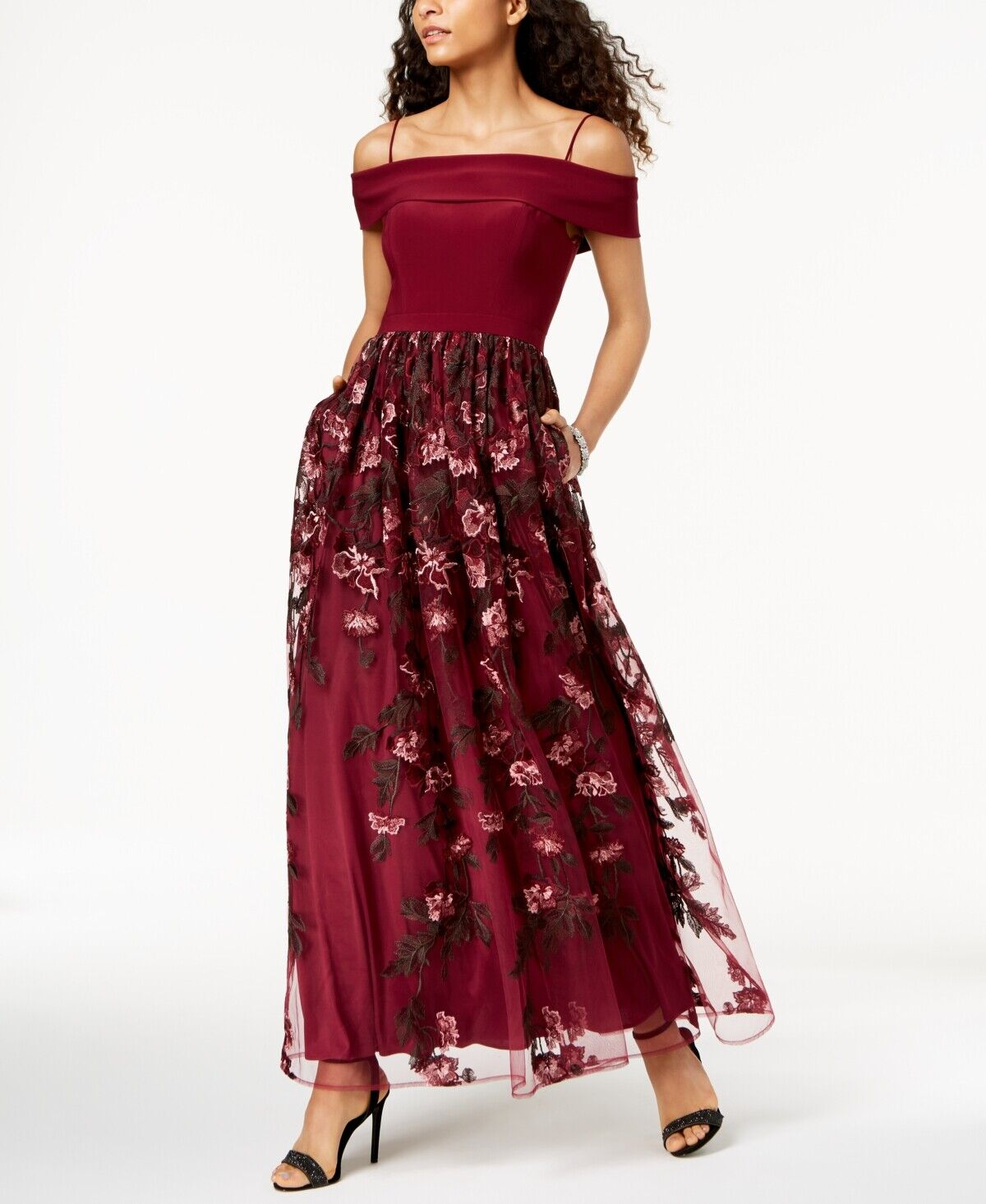 268 NIGHTWAY WOMEN'S RED EMBROIDERED OFF-THE-SHOULDER GOWN FORMAL DRESS SIZE 10