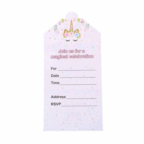 16 pezzi unicorno inviti carta unicorno carte compleanno festa di nozze invito