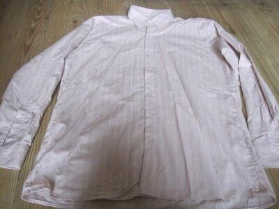 """Canda Vintage Camicia Taglia 15.5"""" Cotone Pink & White Stripes Maniche Lunghe-mostra Il Titolo Originale"""