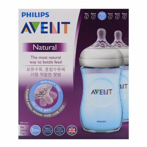 Avent Natural Feeding Bottle 260ML 2 Pack Blue Tint Twin Valve