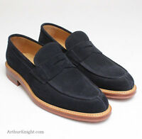 Russell & Bromley London Mens Navy Blue Suede Penny Loafer Shoes Uk 9