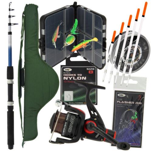 Reel Set /& Carryall Mer grossier /& Tackle Compact Voyage pêche télescopique Rod