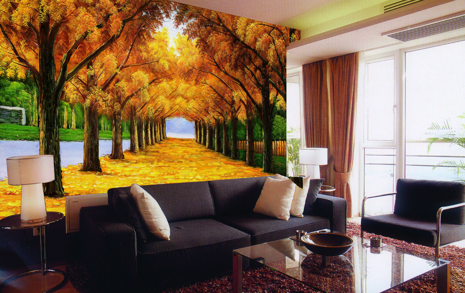 3D Golden leaves road1G WallPaper Murals Wall Print Decal Wall Deco AJ WALLPAPER
