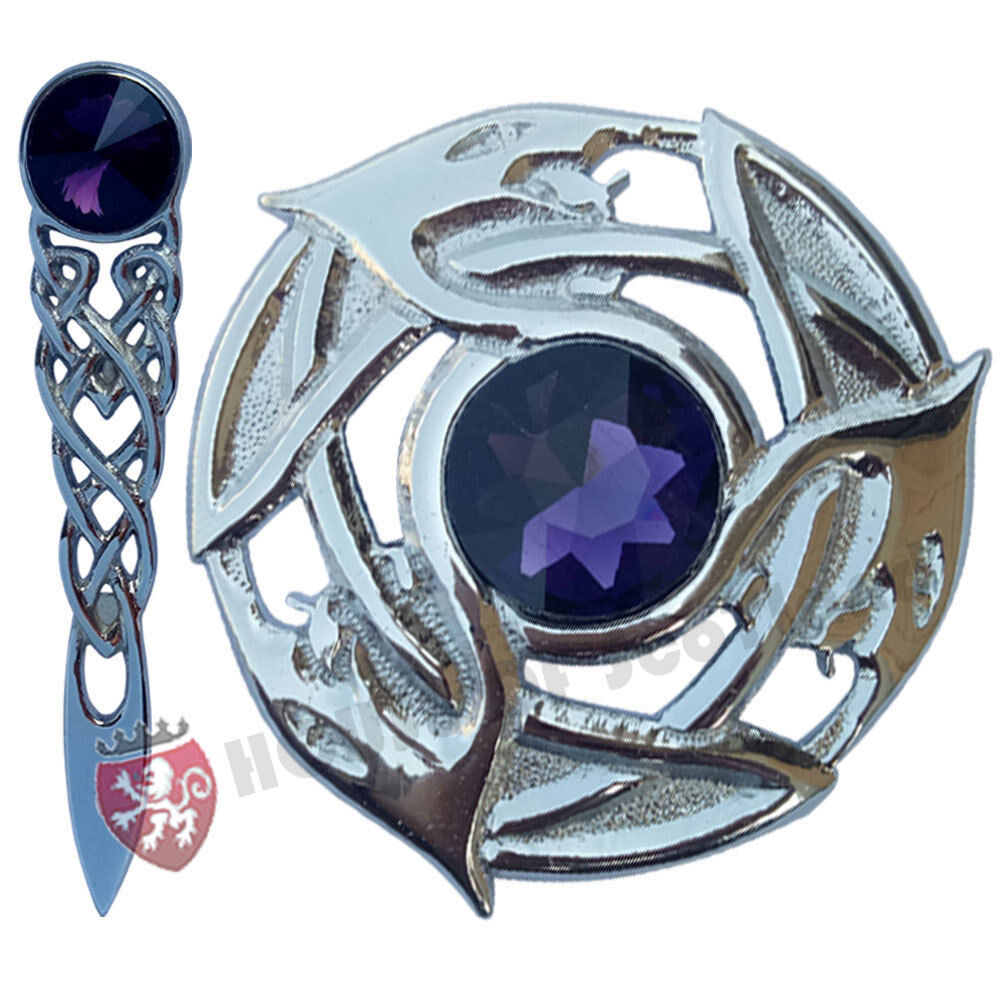 Kilt Pin Celtic Serpent Chrome 4