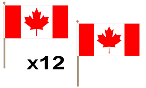 Canada Canadian Mapel Leaf Large Hand Waving Flag 45X30Cm 12 Pack