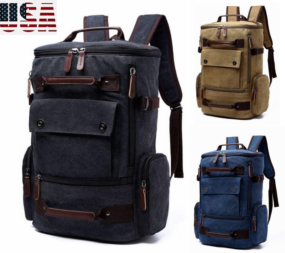 US Mens Canvas Travel Backpack Vintage Laptop Bag Large Sport Camping ... - s l1600