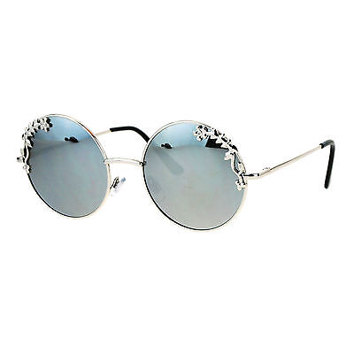 Womens Retro Foliage Jewel Trim Round Circle Lens Hippie Sunglasses