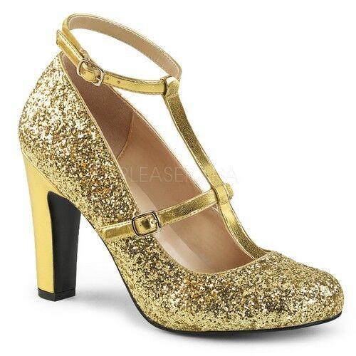 Pleaser QUEEN-01 damen Gold Metallic Faux Glitter Round Toe Pump T-Strap Heel