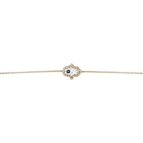 Bracelet Femme Main de Fatma Plaqué Or et Oxydes Zirconium 16cm Neuf 3 cm
