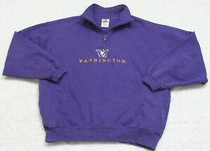 Washington-Huskies-Sweatshirt-Cotton-Poly-Long-Sleeve-Large-Purple-Men-039-s-Man-039-s