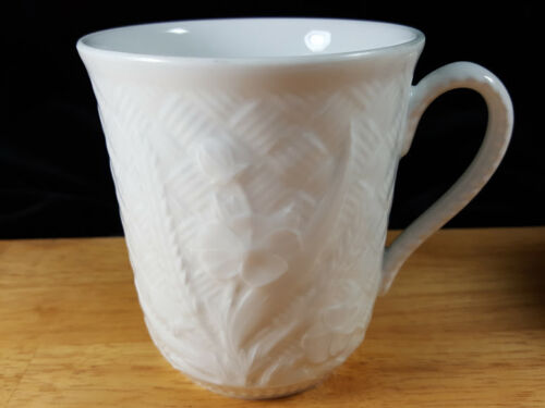 Royal Worcester Somerset Coffee Mug s White Embossed Basket Weave Flower