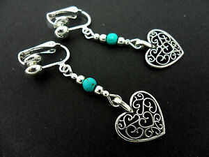 A-PAIR-OF-TIBETAN-SILVER-DANGLY-HEART-amp-TURQUOISE-BEAD-CLIP-ON-EARRINGS-NEW