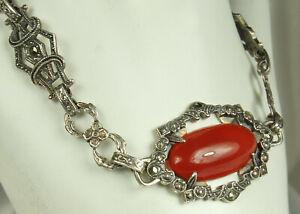ART-DECO-CARNELIAN-Bracelet-1920s-STERLING-Silver-Cab-Gemstone-amp-MARCASITES-Fab