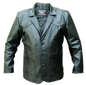 40846244d Details about Mens 3 Button Black Lambskin Leather Blazer Jacket Soft and  Light