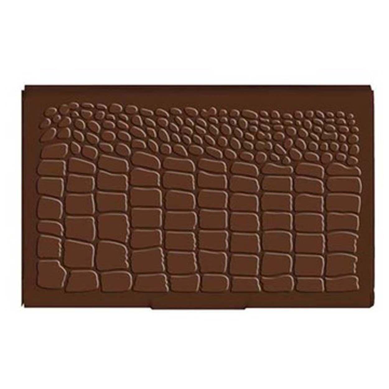 #2441 Business-Gift-Credit Card-Money Aluminum Case Brown Croc Crocodile