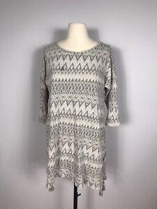 Soft Surroundings Gray Geometric Print 3/4 Sleeve Tunic Blouse Women's S