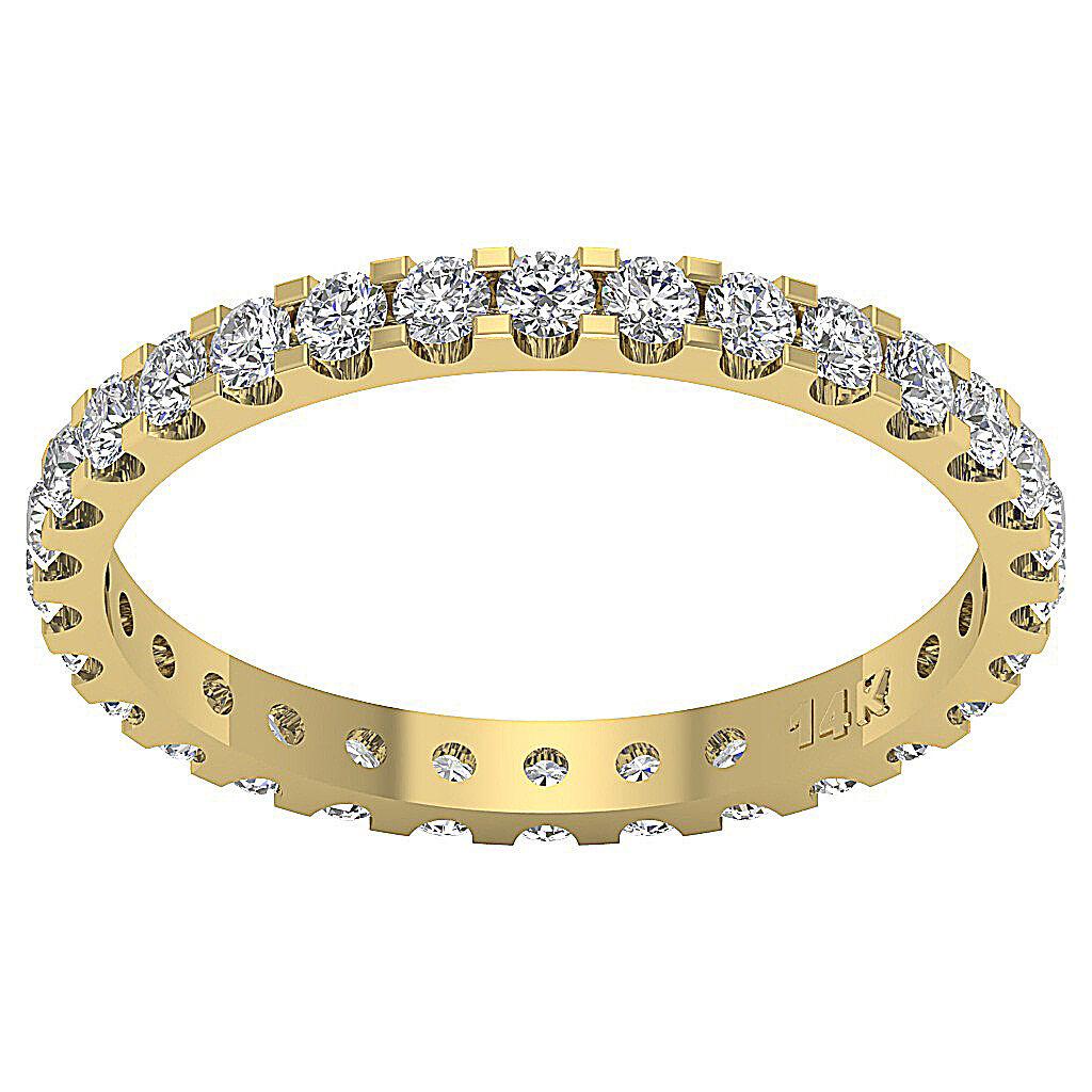 Eternity Wedding Ring I1 H 1.50Ct Real Diamond 14Kt Yellow gold Prong Set 2.70MM
