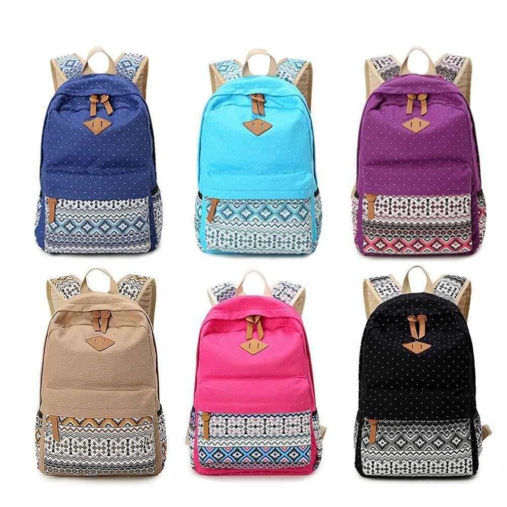 Women Canvas Girl's Shoulder School Bag Backpack Travel Satchel Rucksa... - s l1600