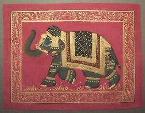Indian-Miniature-Elephant-Hand-Painted-on-Cloth-see-details-M114