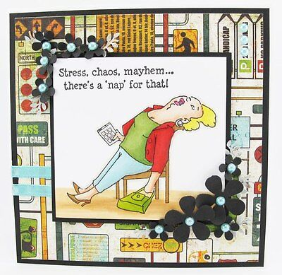 Napper Lady watching TV  set 2pcl@@k@photoexample  ART IMPRESSIONS RUBBER STAMPS