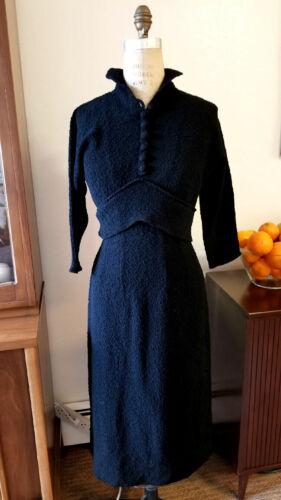 Original Vintage 40's/50's NUBBY-KNIT Black Dress