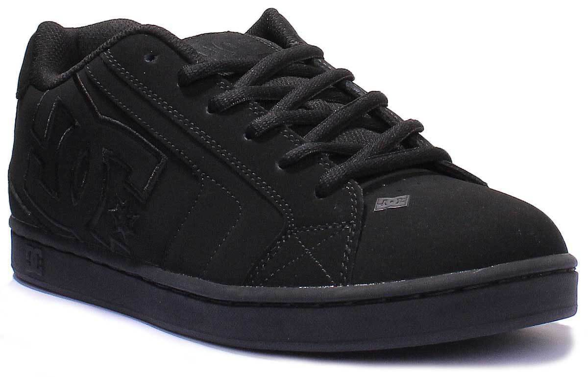 DC Shoes Men's Net Suede Nubuck Leather Black Skate Trainers
