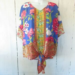 New-Umgee-Top-XL-X-Large-Floral-Paisley-Scarf-Print-Tie-Front-Ruffle-Sleeve
