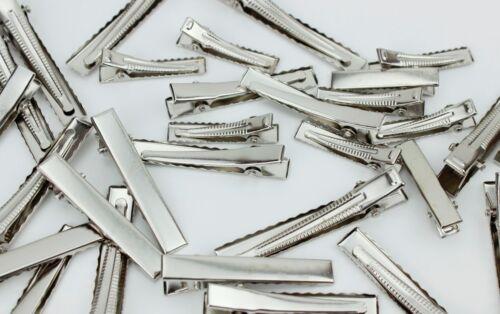Buy 3 Get 3 Free } 32,45,58mm { 10x Silver Crocodile Hair Clip Blanks Findings