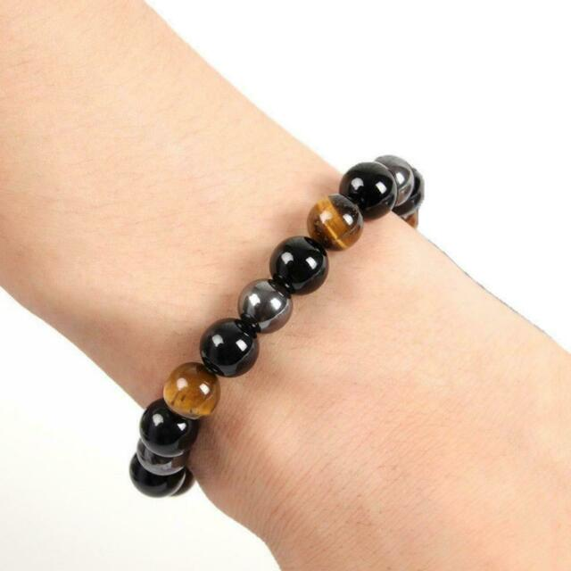 10mm Natural Black Obsidian Tiger Eye and Hematite Beads Stone Bracelet Bangle H