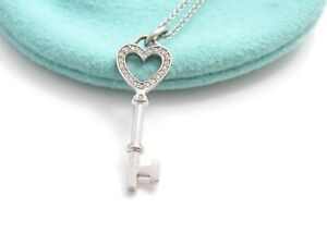 484a90b42 Tiffany & Co 18K White Gold Heart Key Diamond Charm Pendant | eBay