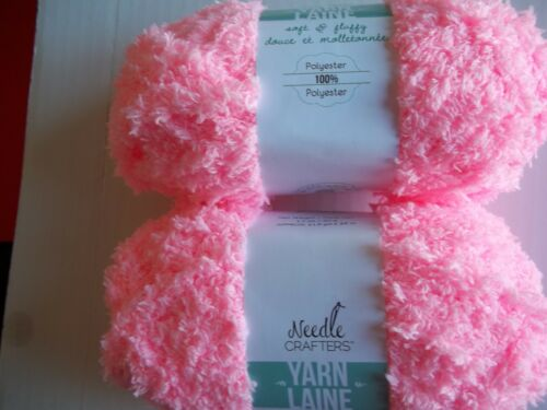 Baby Pink Needle Crafters Soft /& Fluffy plush//fleece yarn 40 yds ea lot of 2