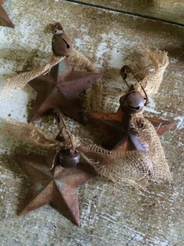Set of 10 Rusty Barn Stars 2.25 in 2 1//4 Pin Bell Country Ornaments Bowl Filler