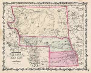 1862-63-Johnson-039-s-Nebraska-Dakota-Colorado-amp-Kansas