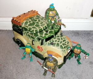 Playmates TARTARUGHE NINJA 5 ACTION FIGURE & Wagon 2003 Bundle
