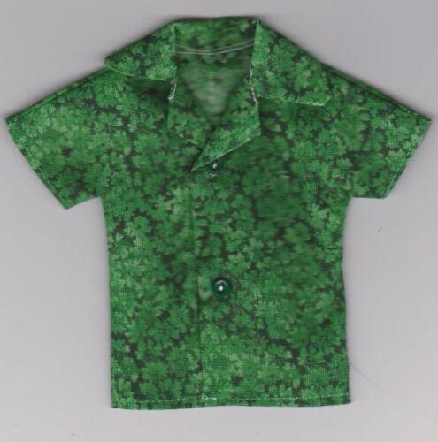 Homemade Doll Clothes-Green Floral Print Shirt that fits Ken Doll B4