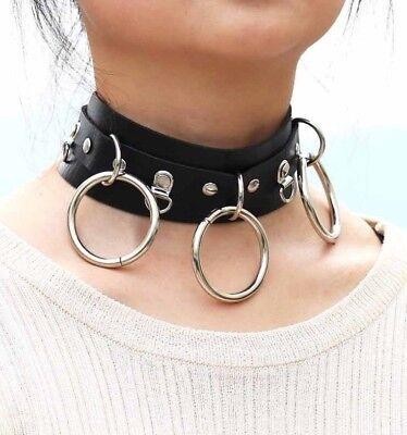Choker Black Collar 3 Triple O Ring Neck Pendant Leather Strap Gothic Restraint