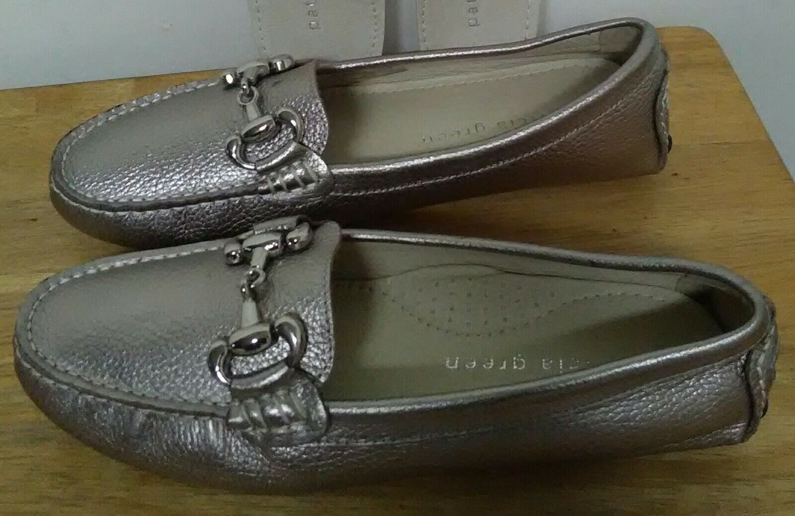 Patricia Green  RARE  Carrie Suede Flat Flat Flat SILVER Leather shoes. Size EU 36 ec4633